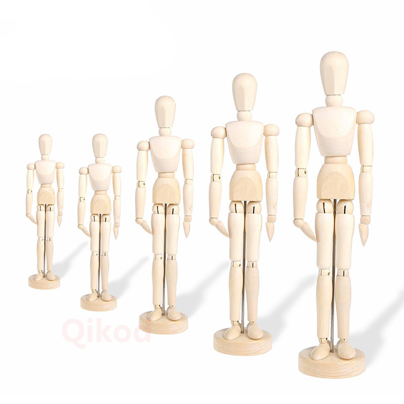 4.5 Inch 5.5 Inch 8 Inch Puppet People Art Sketch Painting Tools Wooden Crafts Ornaments Collection Model Doll Toys For Children