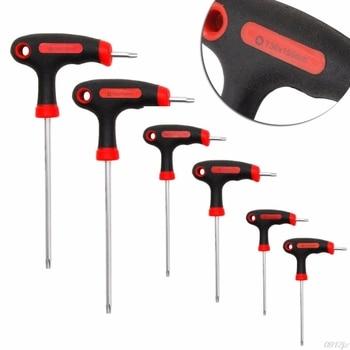 T-Handle Grip Torx&Hex Allen Key Screwdriver Driver Tool T10/T15/T20/T25/T30/T40 #319 набор торцевых ключей hammer flex 601 031 torx 8 шт t9 t10 t15 t20 t25 t27 t30 t40 crv