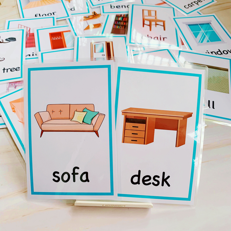 24pcs English Cognitive Flash Card Cartoon Furniture Daily Necessities Learning Word Cards Early Educational Memory Game For Kid