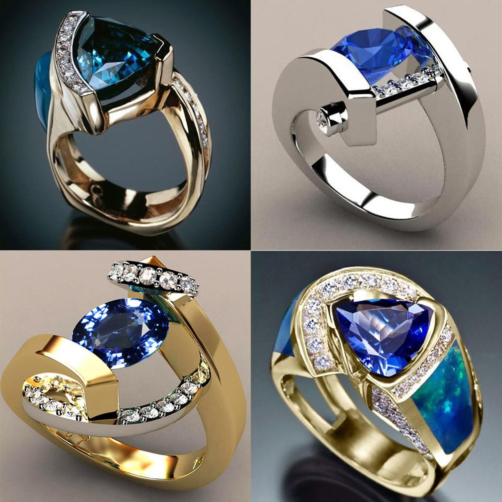 Engagement Rings Solitaire Crystal Round Wedding Silver Gold Blue Women Luxury Promise