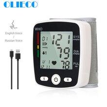 OLIECO USB Ricaricabile Automatico Digitale Da Polso Monitor di Pressione Sanguigna di Russo Inglese Voice Elettrico Tonometro Sphygmomanom PR