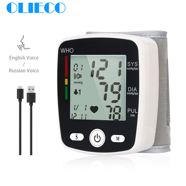 OLIECO USB akumulator automatyczny cyfrowy nadgarstek Monitor ciśnienia krwi rosyjski j. Angielski tonometr elektryczny Sphygmomanom PR