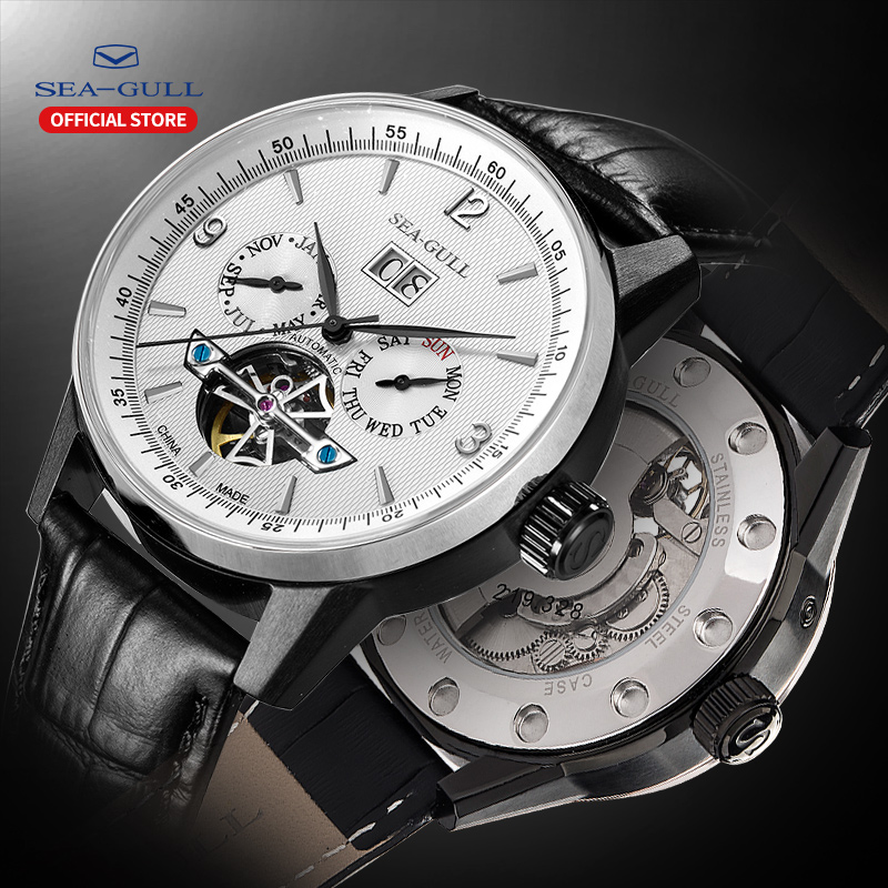Seagull Business Watches Men's Mechanical Wristwatches Calendar Week 50m Waterproof Black Leather Buckle Male Watches 219.328