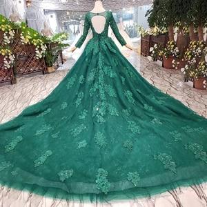 Image 2 - HTL257 зеленые дешевые вечерние платья 2020 с поездом Индивидуальный размер o образным вырезом с длинными рукавами а силуэта для матери невесты