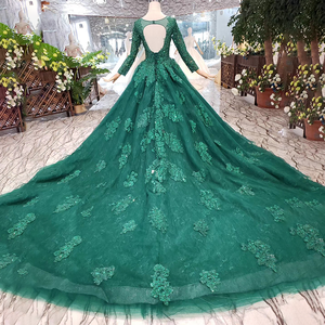 Image 2 - HTL257 Green Cheap Evening Dresses 2020 With Train Custom Size O Neck Long Sleeves A Line Mother Of Bride