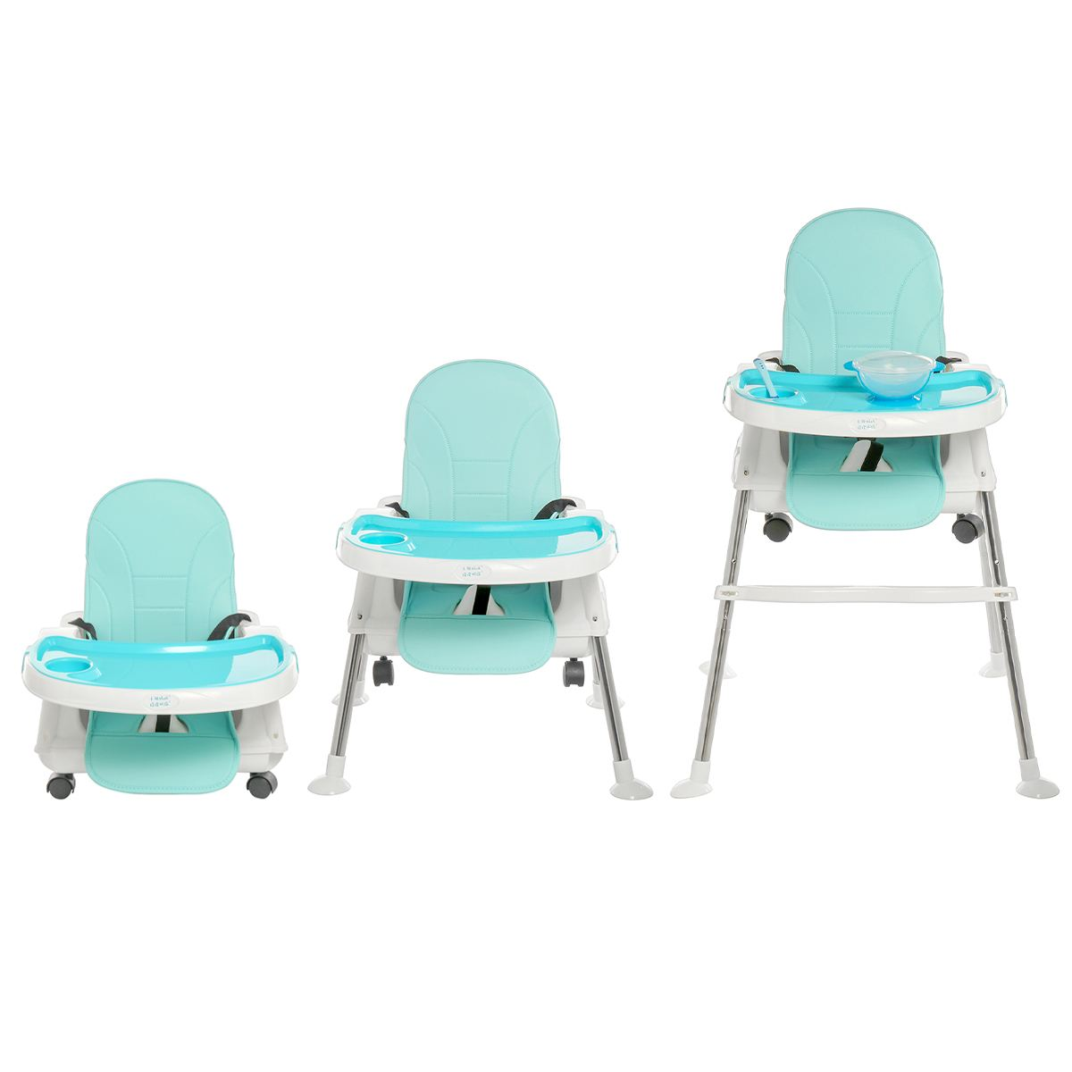 3 in 1 Adjustable Baby Comfortable High Chair Safe Feeding Dinner Table highchair With Universal wheel For Kids/Toddler