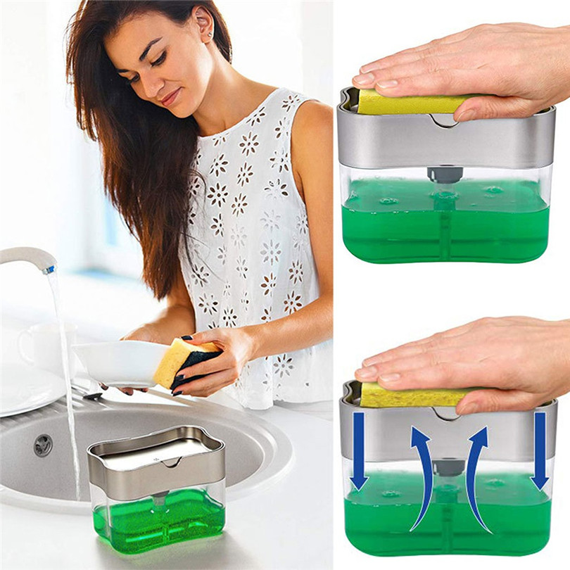 Kitchen 2-in-1 Sponge Rack Soap Dispenser Soap Dispenser And Sponge Caddy 13 Ounces Kitchen sink accessories #4n28