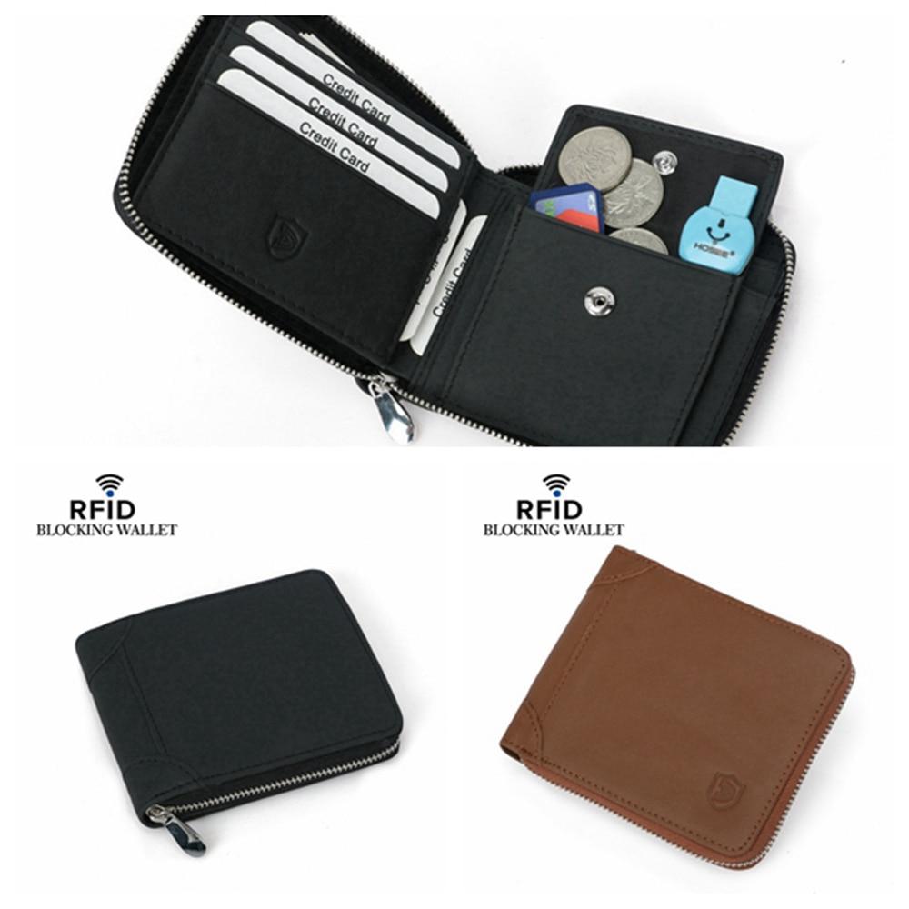 1 Piece Cowhide Genuine Leather Wallet Men Vintage Crazy Horse Leather Short Zipper Wallets Purse Card Holder With Coin Pocket