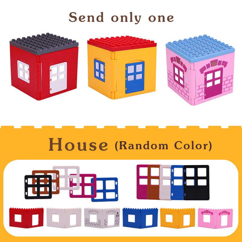 Anak-anak Pagar Geser Tangga Window Batu Bata Partikel Besar Blok Bangunan Aksesori Hadiah Mainan Playmobil Kompatibel dengan Legoly Duplo