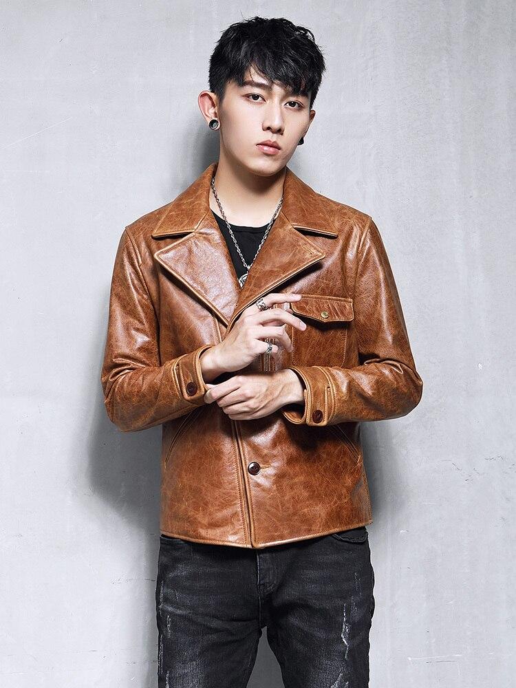 Men's Genuine Leather Jacket 100% Real Cow Leather Jacket Men Biker Motorcycle Leather Blazers Slim Coat 19-07A KJ3219
