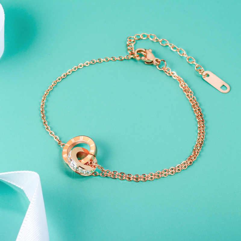 Stal nierdzewna vintage biżuteria cyframi rzymskimi Charms bransoletki i Bangles dla kobiet luksusowa marka róża kryształowa złota bransoletka