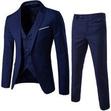 Primavera 3 peças clássico blazers conjuntos de terno dos homens de negócios blazer + colete + calças ternos conjuntos outono masculino festa de casamento conjunto