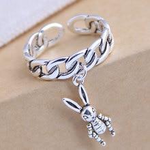 Nuevo Anillo de barque Vintage de moda, cadena larga, anillo de conejo con borla de plata antic para accesorios de mujer