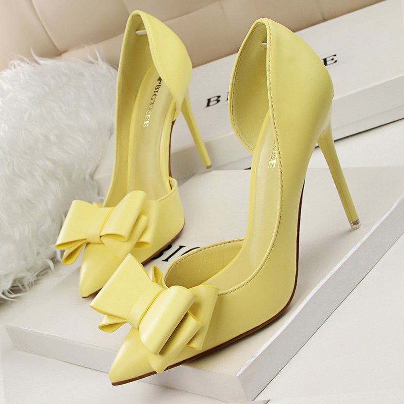 BIGTREE Shoes Women Heels Elegant Women Pumps Bow-knot High Heels Women Shoes Pointed Stiletto Party Bridal Wedding Shoes Female