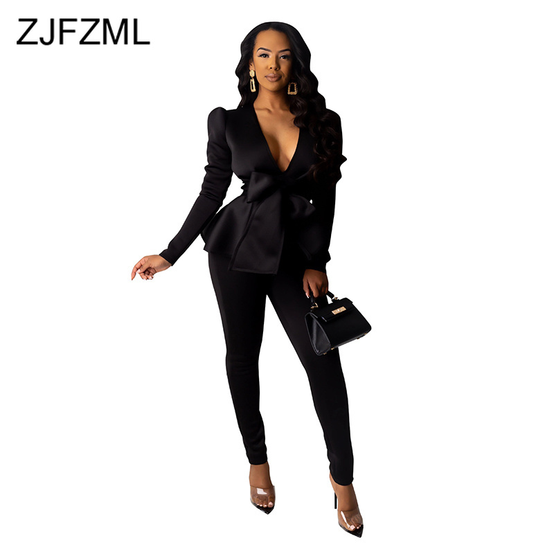 Solid Office Two Piece Blazer Set Women Clothes Deep V-Neck Tie Bow Slim Blazers And Pencil Pants Space Cotton 2 Pcs Outfits