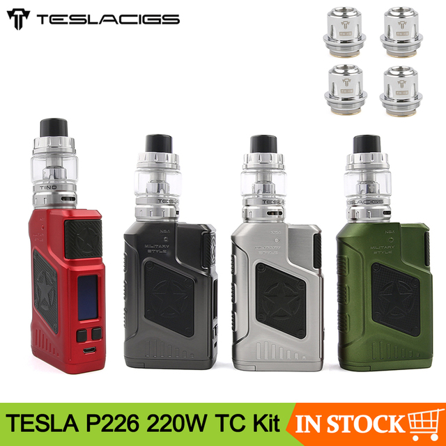 Original Teslacigs TESLA P226 220W TC Vape Kit With 4.5ml Tind Tank Power by Dual 18650 Electronic Cigarette Mod Kit VS Drag 2