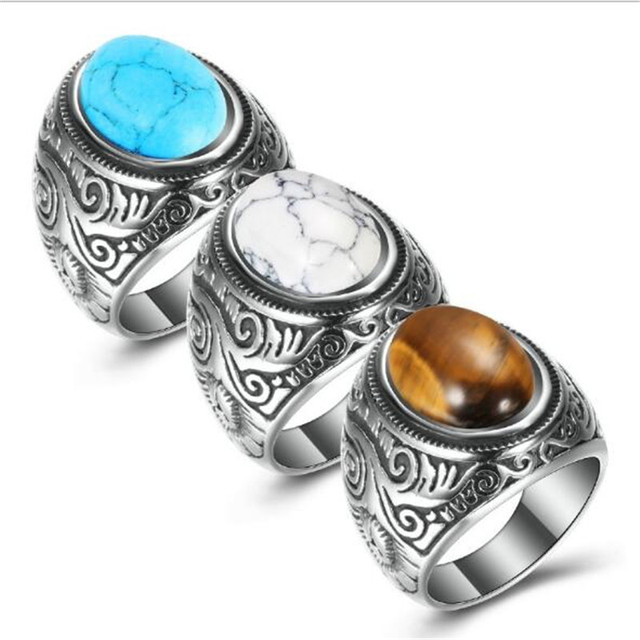New blue Australian gem luxury men's fashion ring party banquet jewelry Valentine's Day special gift accessories wholesale