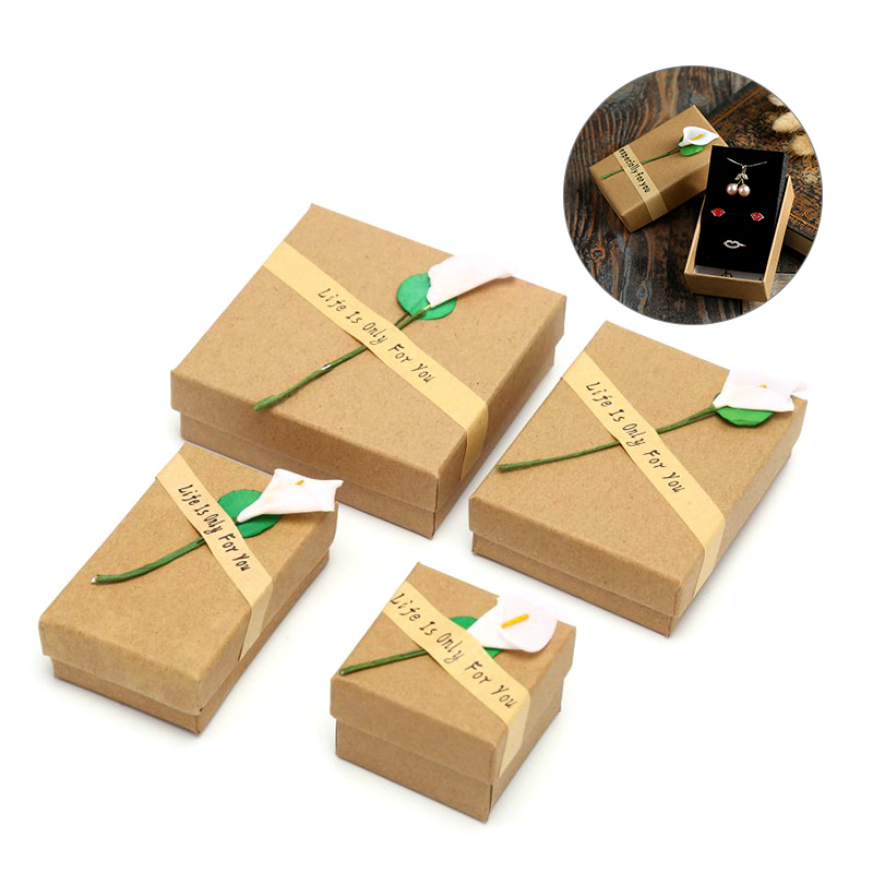 1pcs Creative Jewelry Box Retro Kraft Paper Ring Jewelry Display Box Gift Cardboard Boxes