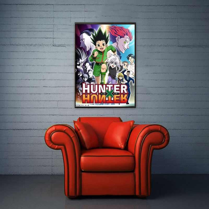 Hunter X Hunterโปสเตอร์คลาสสิกตกแต่งบ้านอะนิเมะญี่ปุ่นRetroโปสเตอร์พิมพ์ผ้าไหมWall Art Home Room Decor