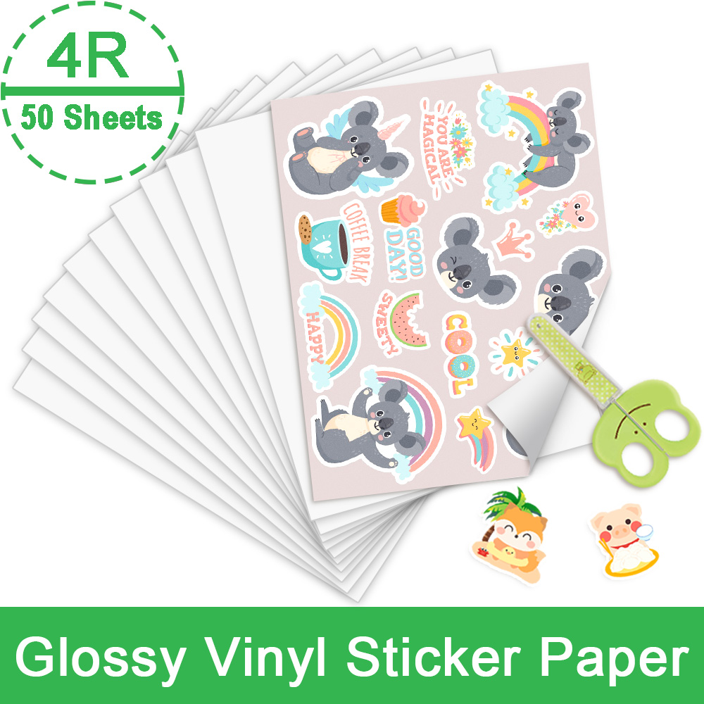 50 Sheets Vinyl Sticker Paper 4R Self-adhesive Printable Pattern Sticker 216*279mm for Brother Epson HP Inkjet Printer Paper