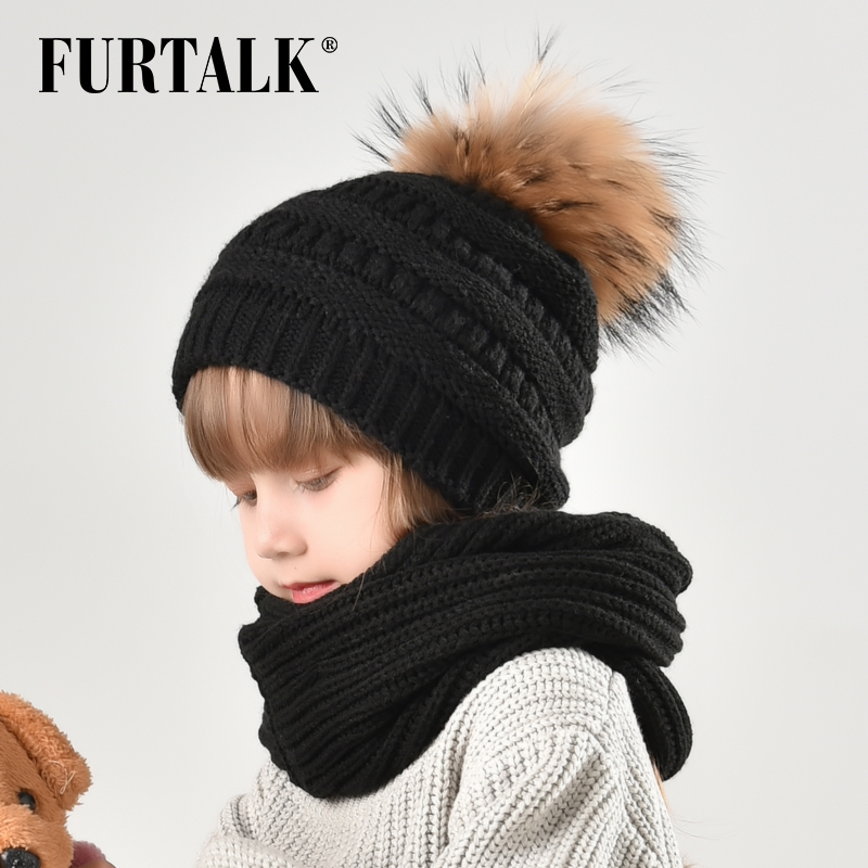 FURTALK Winter Kids Hat Scarf Set Boys Girls Faux Fur Pom Pom Beanie Hat Baby Fleece Winter Hat Scarf For Children 2-10 Years