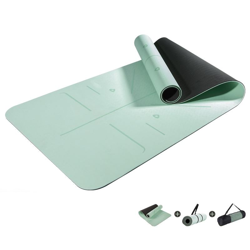 1830*610*6mm TPE Yoga Mat with Position Line Fitness Gymnastics Mats Sport Carpet Pads Non Slip Carpet Beginner Mats Yoga