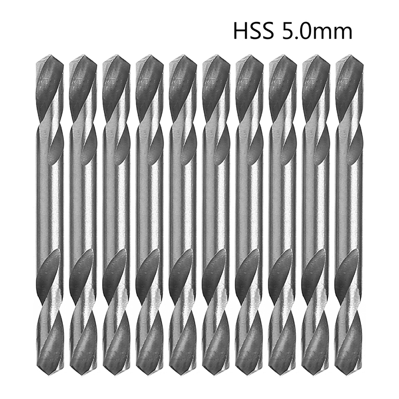 10Pcs/Set 5mm HSS Double Ended Spiral Torsion Drill Tools Drills