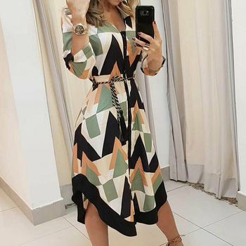 Womens Long Shirt Dress Wave Print Long Sleeve V-neck Casual Autumn Loose High Waist Holiday Midi Dress Vestidos Longo Plus Size 2