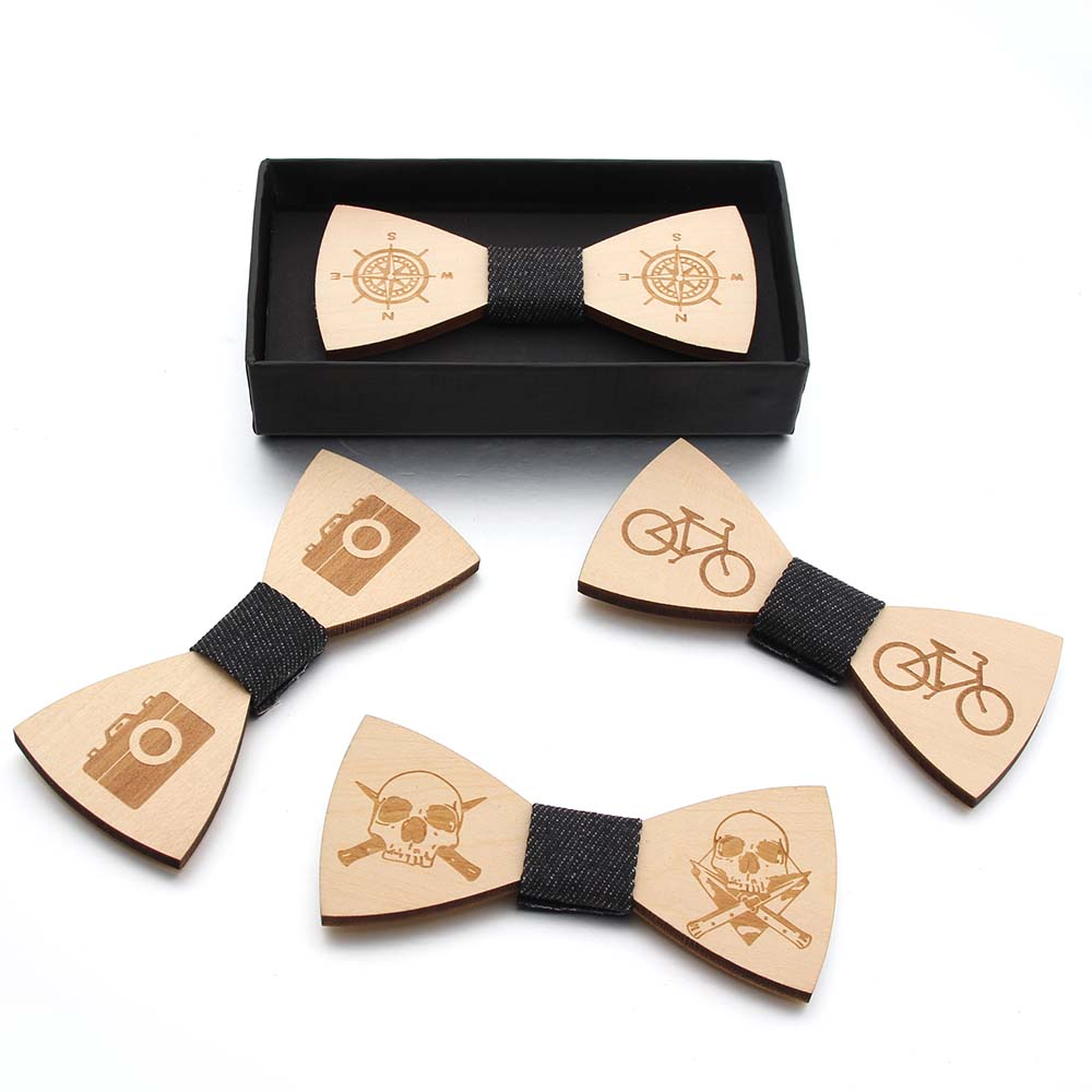 Fashion Wooden Bow Tiet  Bicycle Skull Compass Camera   Pattern  Party Bow Ties Butterfly Wooden Tie For Man