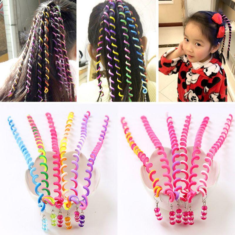 6pcs Rainbow Random Color Headband Girl Crystal Long Elastic Hair Band Headwear