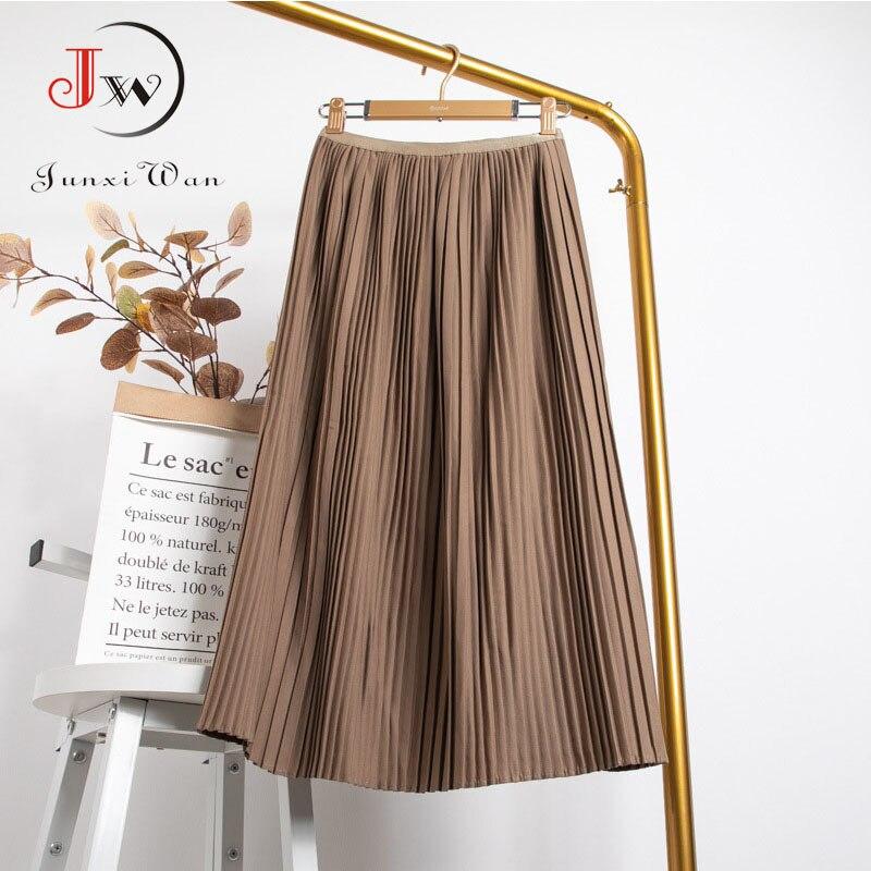 Women Summer Solid Pleated Skirt 2021 High Elastic Waist Elegant Office Ladies Romantic Midi Skirt Female Saia Faldas White 6