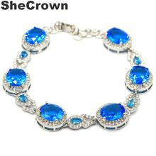 32x14mm  Deluxe New Stone Paris Blue Topaz White CZ Gift For Girls Silver Bracelet 7.5-8.5in