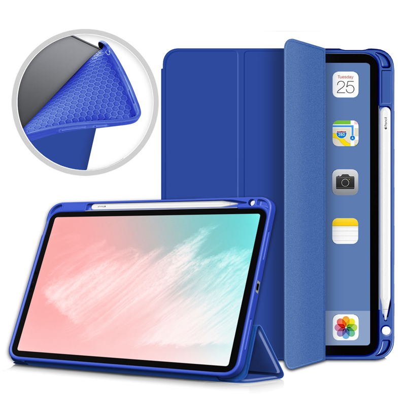 Dark Blue White Pencil Holder Case For iPad Air 4 10 9 inch 2020 A2324 A2072 Flip Stand PU