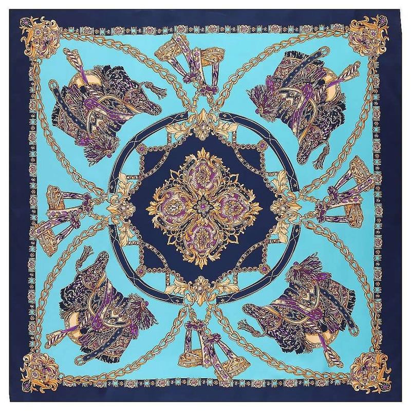 Luxury Brand 130cm Big Handkerchief Luxury Brand Scarf Belt Chain Print Twill 100% Silk Square Scarves Women Kerchief For Shawl