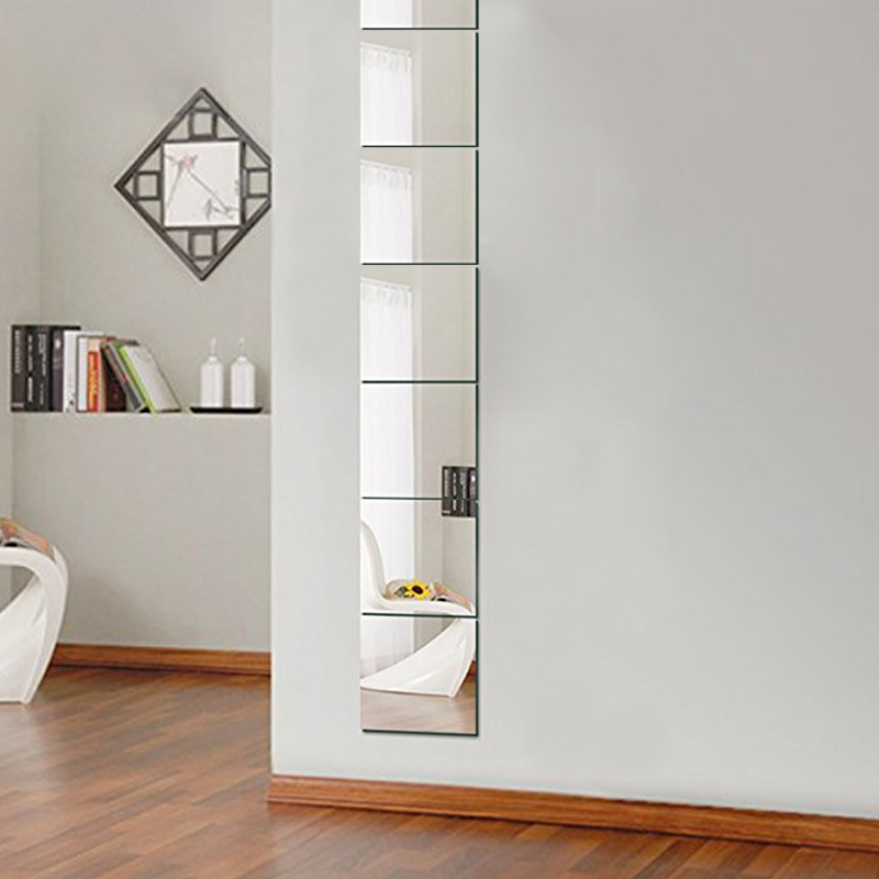 9 Pcs 15 * 15CM Square Mirror Wall Sticker Modern Tile Mirror Wall Sticker Self-adhesive Room Decoration