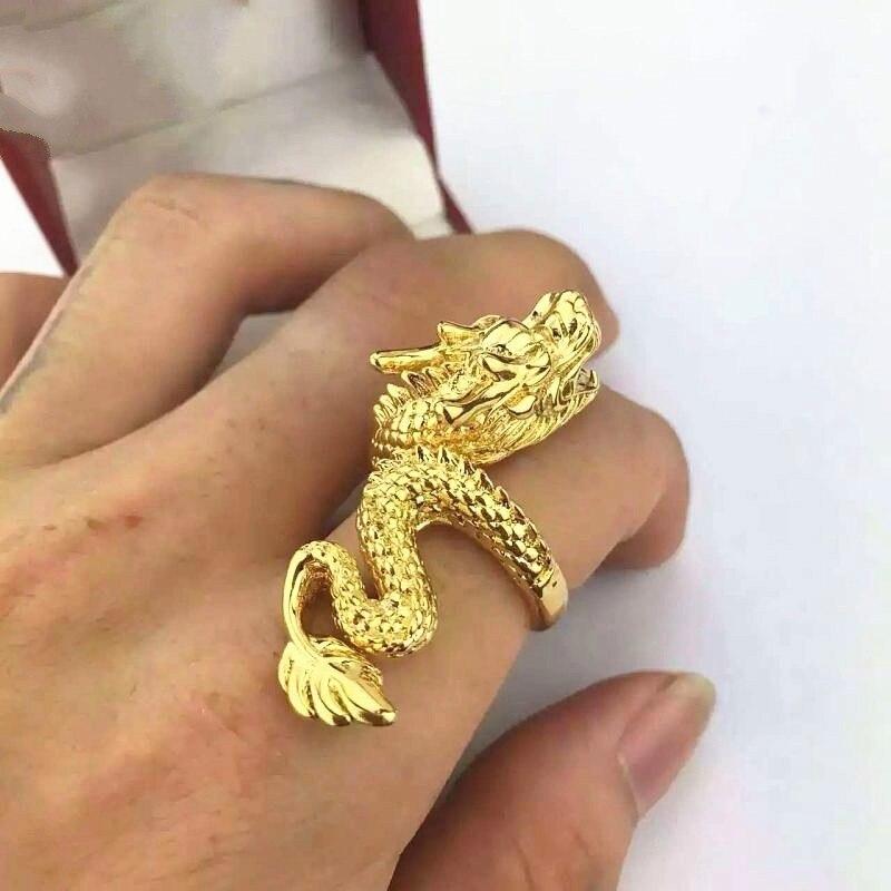Luxo ouro dragão anel para homens festa da motocicleta steampunk anel de ouro do vintage abertura ajustável dominador dragão anéis jóias