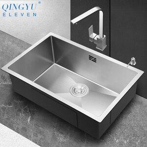Кухонная раковина большого размера, без свинца, ручная работа, нержавеющая сталь 304, толщина 3 мм, одна чаша, барная стойка, кухонная раковина
