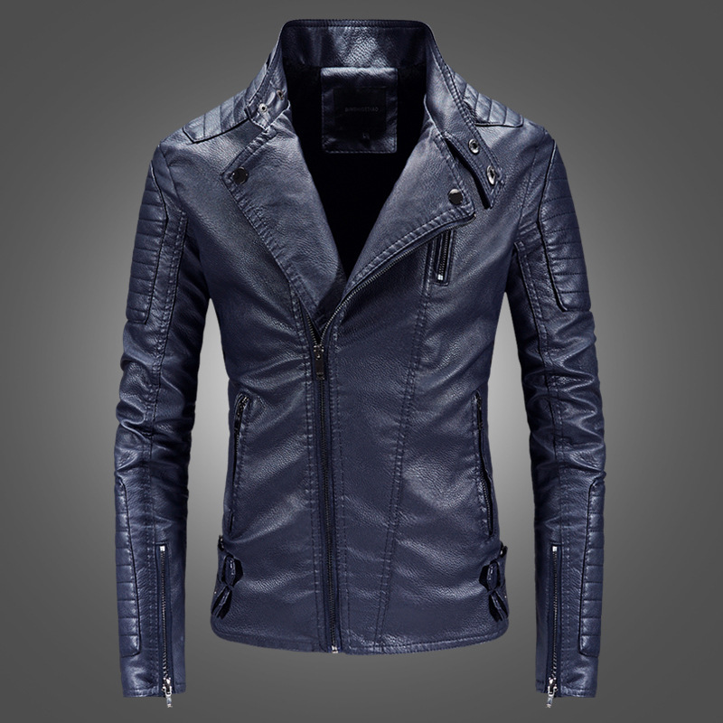 Spring And Autumn Leather Jacket MEN'S Leather Coat Fashion Slim Fit Men's Locomotive PU Leather Jacket Fashion Stride Into