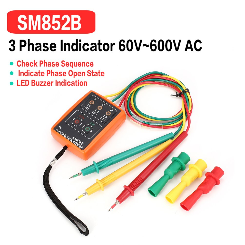 New SM852B 3 Phase Rotation Tester Digital Phase Indicator Detector LED Buzzer Phase Sequence Meter Voltage Tester 60V~600V AC