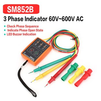 Nowy SM852B 3 fazy miernik obrotów cyfrowy wskaźnik fazy detektor LED Buzzer miernik sekwencji faz tester napięcia 60V ~ 600V AC tanie i dobre opinie ACEHE other 2000V minute (impulse voltage 4000V) 80 x 60 x 24mm 60V-600V AC three phase 20Hz-400Hz 135g