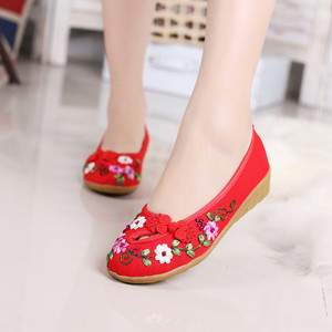 Image 5 - Classic cloth shoes casual shoes retro disc buckle handmade embroidered shoes tendon soles womens shoes