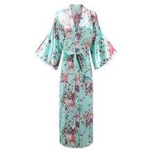 Женское кимоно купальный халат 3/4 рукав v-образный вырез длинный свадебный халат для невесты одежда для сна атласное интимное нижнее белье с цветочным принтом Ночное платье