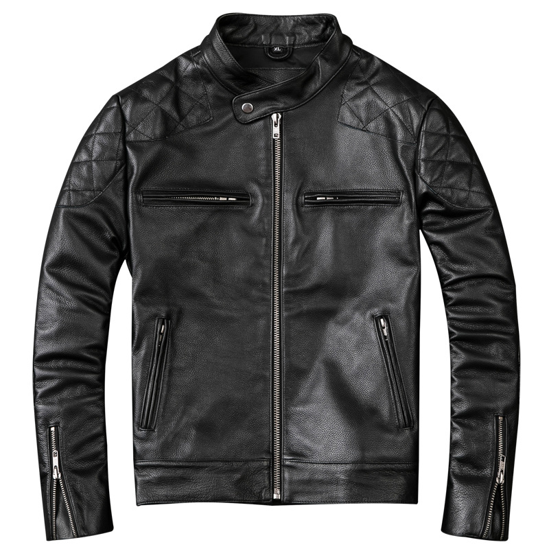 2019 Men's Genuine Leather Jacket Black Pleated Motorcycle Leather Jackets Genuine Cowhide Biker Coat for Male