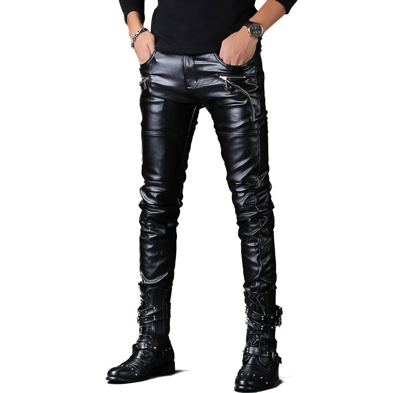 Pantalon Homme Men Faux Leather Pants Punk Style Skinny Zippers Night Club Motorcycle Black PU Leather Soft Trousers