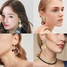 Korea Simple Pearl Earrings Round Unique Design Resin Female Geometric Retro Statement Jewelry