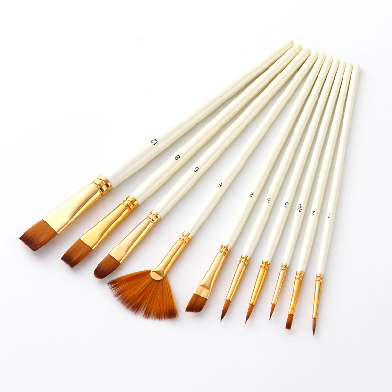 10Pcs Nylon Paint Brushes Set Professional High Quality Short Rod Oil Acrylic Brush Watercolor Pen School Office Art Supplies
