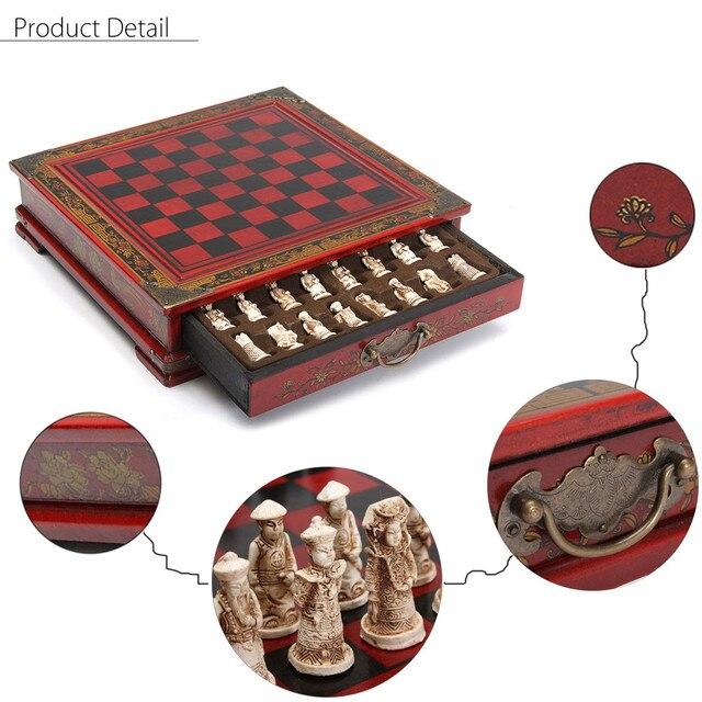 32 pièces/ensemble bois échecs chinois rétro terre cuite Chessman échecs bois faire vieux sculpture résine Chessman anniversaire cadeau de noël 4