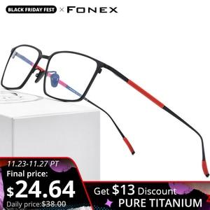 FONEX Pure Titanium Glasses Frame Men Square Eyewear 2020 New Male Classic Optical Myopia Prescription Eyeglasses Frames 8535