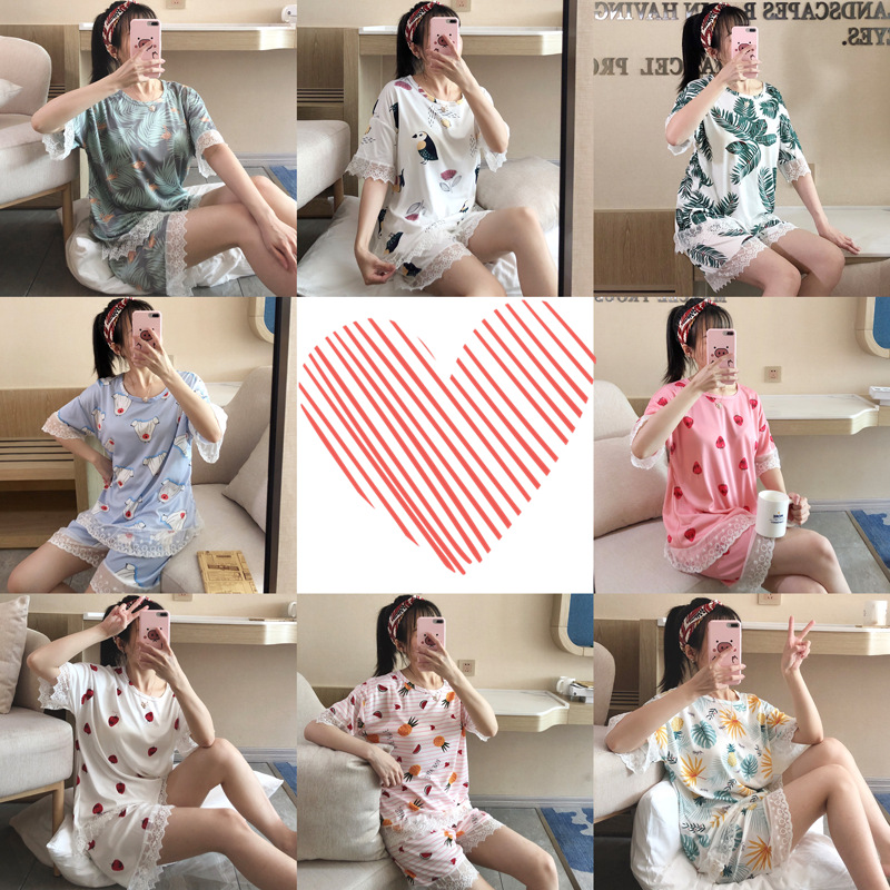 According To Feminine Pajamas Women's Summer Short-sleeved Korean-style Casual Cute Cartoon Pullover Thin Qmilch Home Wear