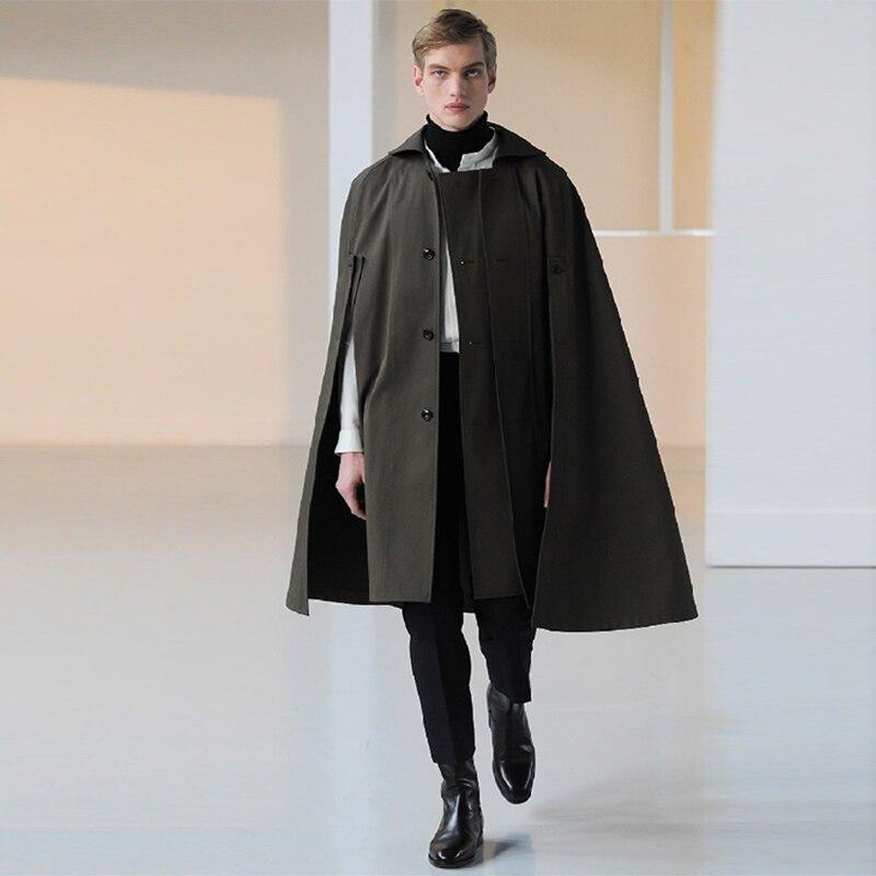 Fall and winter men's medium-length loose lapel single-row buttoned wool bat coat cloak coat trend